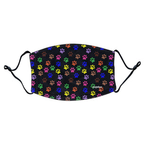 Colorful Paw Prints Face Mask - Adjustable Ear Loops | Reusable & Washable | Cloth - Labradors.com