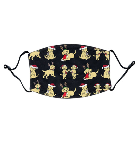 Christmas Yellow Labrador Puppy Pattern | Adjustable, Breathable Face Mask