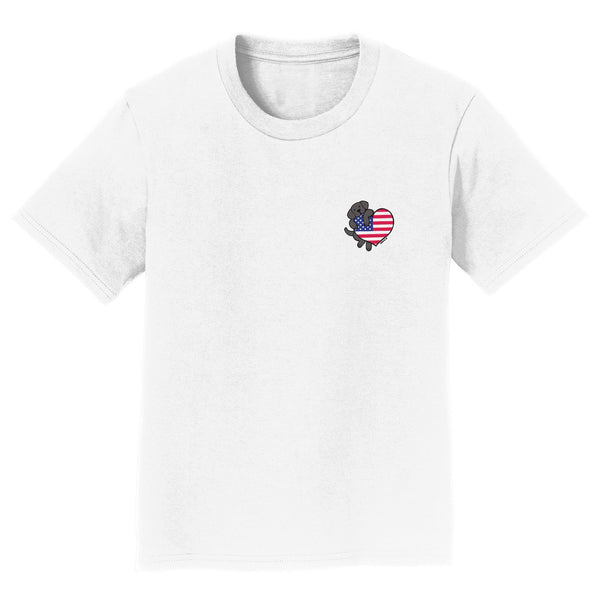 Black Lab USA Flag Heart Left Chest - Kids' Unisex T-Shirt