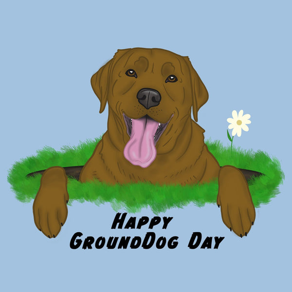 Chocolate Lab GroundDog Day - Women's Fitted T-Shirt