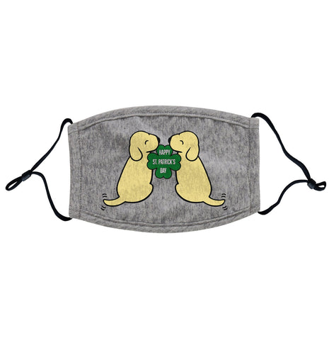 Animal Pride - Happy St. Patricks Day Yellow Lab Puppies - Adult Adjustable Face Mask