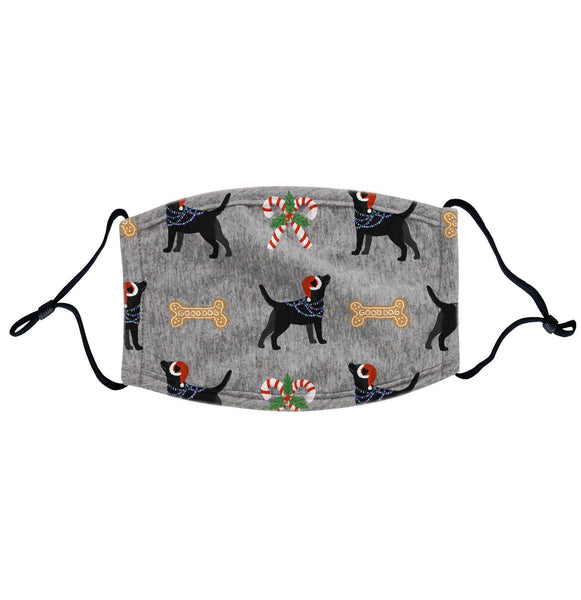 Black Lab Christmas Holiday Pattern Face Mask
