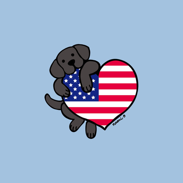 Black Lab USA Flag Heart Left Chest - Women's Fitted T-Shirt