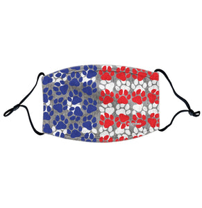 USA Flag - Paw Prints - Adjustable Face Mask, Breathable, Reusable, Printed in USA