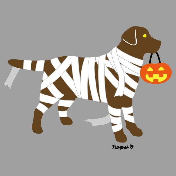 Chocolate Lab Mummy Trick or Treater - Adult Tri-Blend T-Shirt