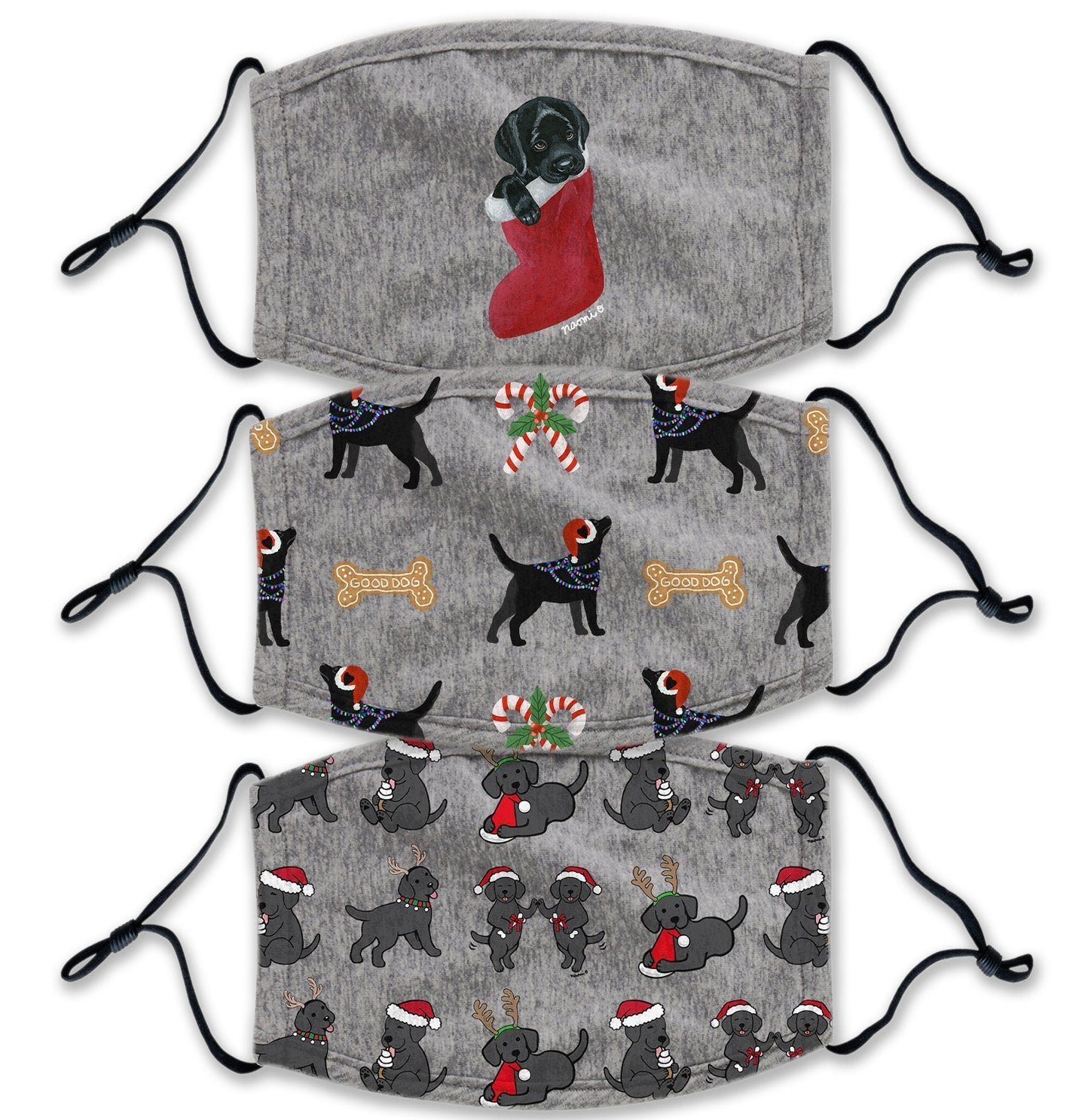 Christmas Black Lab 3 Pack - Adult Adjustable Face Mask