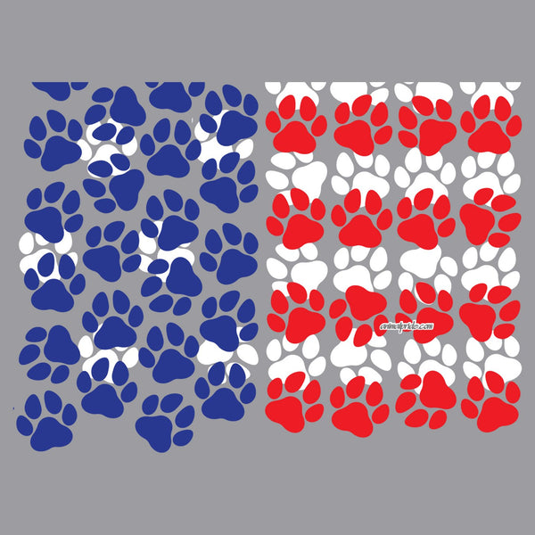 USA Flag - Paw Prints - Adult Adjustable Face Mask