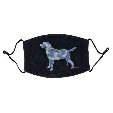 Labrador Silhouette Blue Camouflage Face Mask - Adjustable Ear Loops, Reusable & Washable, Cloth - Labradors.com