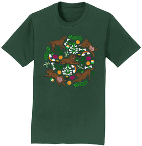 Chocolate Labrador Green Fleur Design - Adult Unisex T-Shirt