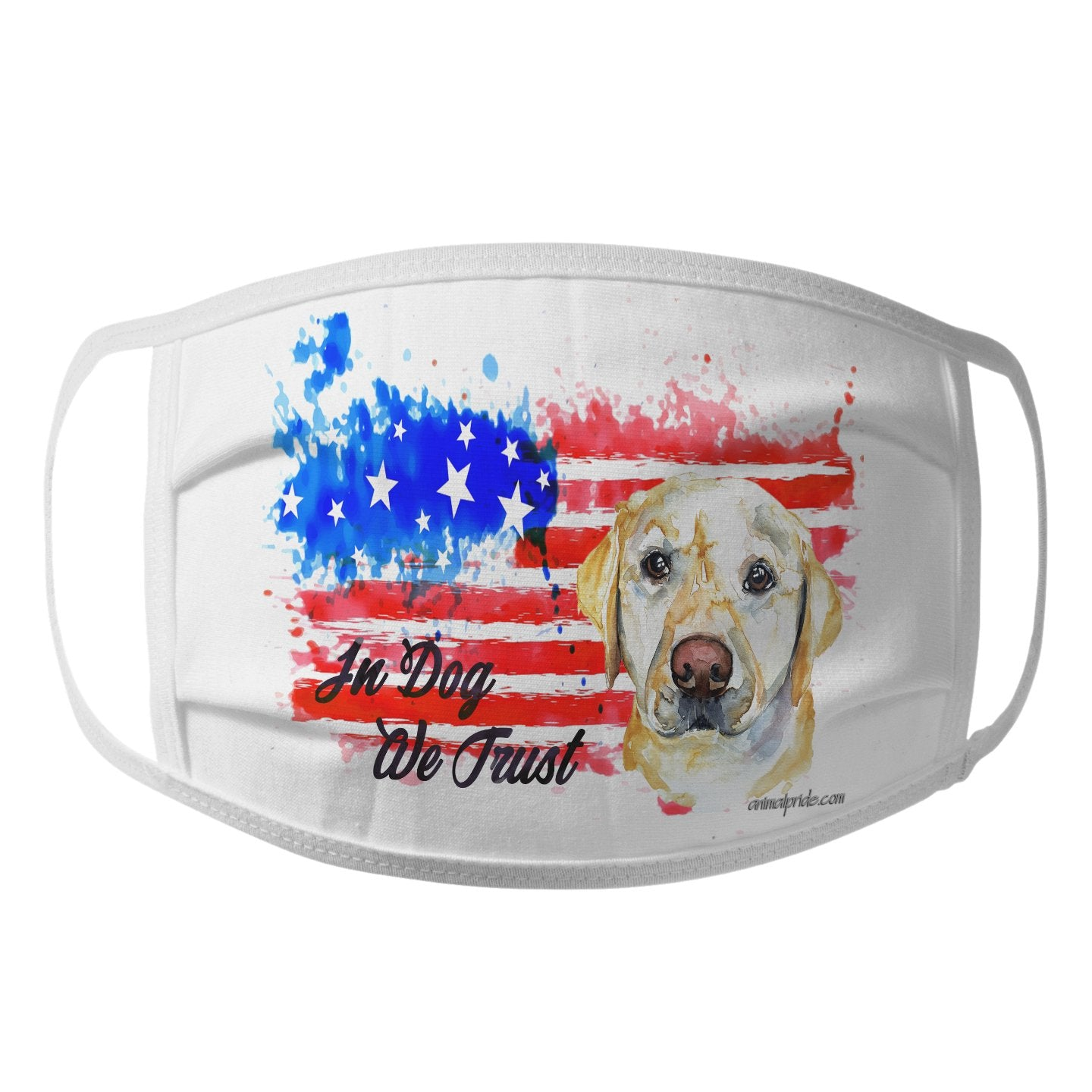 Watercolor Yellow Lab In Dog We Trust - Face Mask