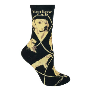 Yellow Lab - Black Cotton Crew Socks