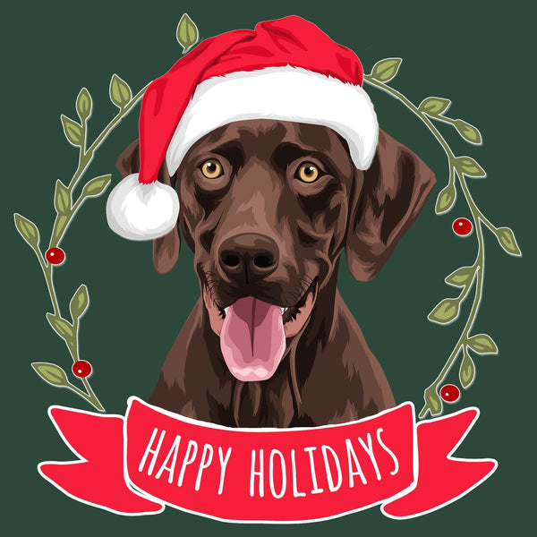 Happy Holidays Chocolate Lab - Adult Unisex T-Shirt