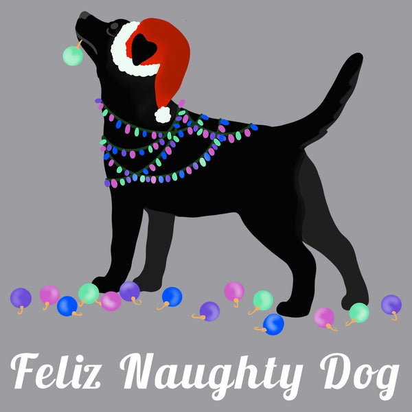 Feliz Naughty Dog Black Lab - Adult Unisex T-Shirt