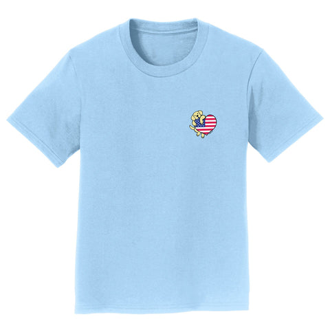 USA Flag Heart Yellow Lab Left Chest - Kids' T-Shirt