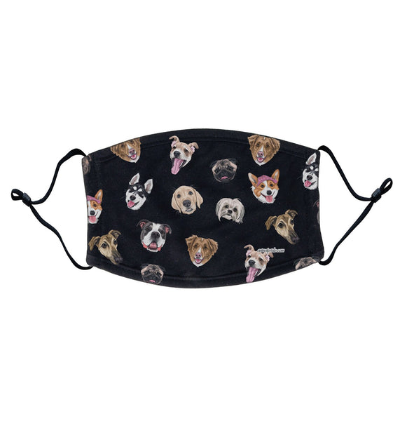 Dog Head Scatter - Adult Adjustable Face Mask