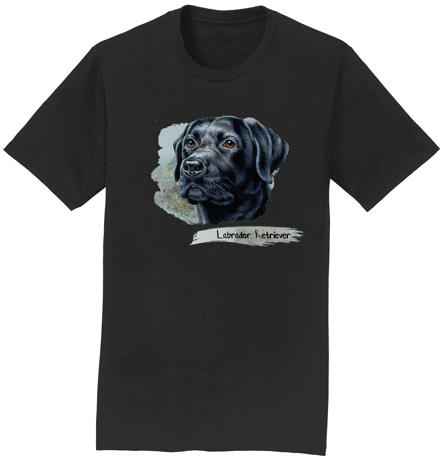 Black Lab Face Art - Adult Unisex T-Shirt