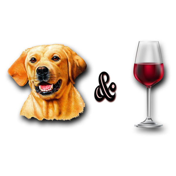 Yellow Lab and Wine - Adult Unisex T-Shirt