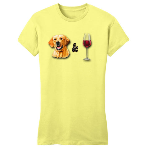 Yellow Lab and Wine - Ladies's Fitted T-Shirt