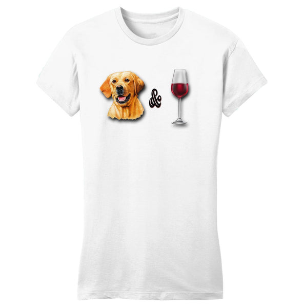 Yellow Lab and Wine - Women's Fitted T-Shirt