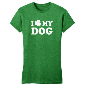 Shamrock Love My Dog - Women's Fitted T-Shirt