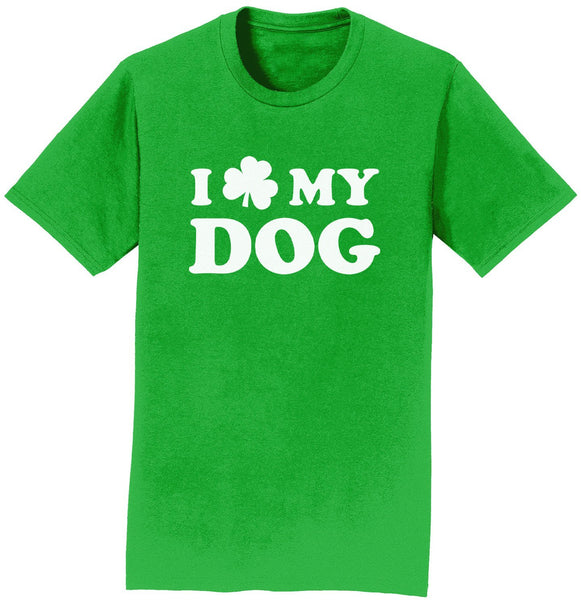 Shamrock Love My Dog - Adult Unisex T-Shirt