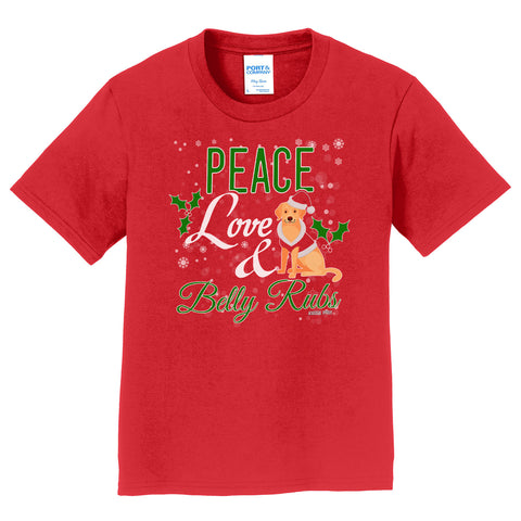 Peace Love and Belly Rubs - Kids' Unisex T-Shirt