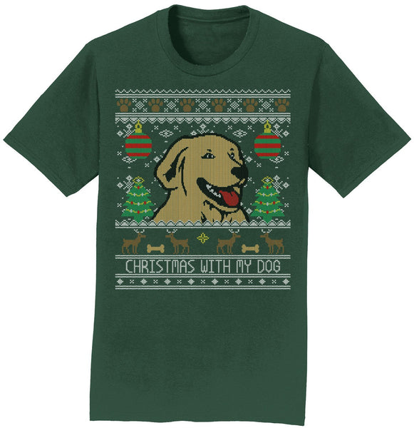 Ugly Christmas Sweater With My Dog - Adult Unisex T-Shirt