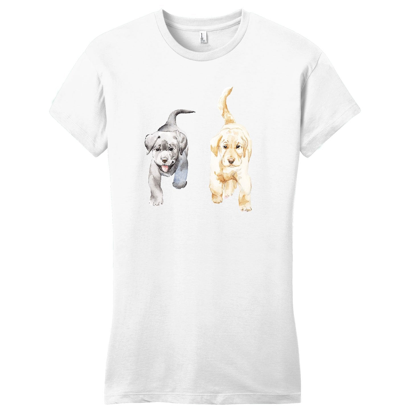 Two Lab Puppies Running - Women's Fitted T-Shirt