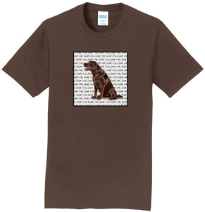 Chocolate Lab Love Text - Adult Unisex T-Shirt