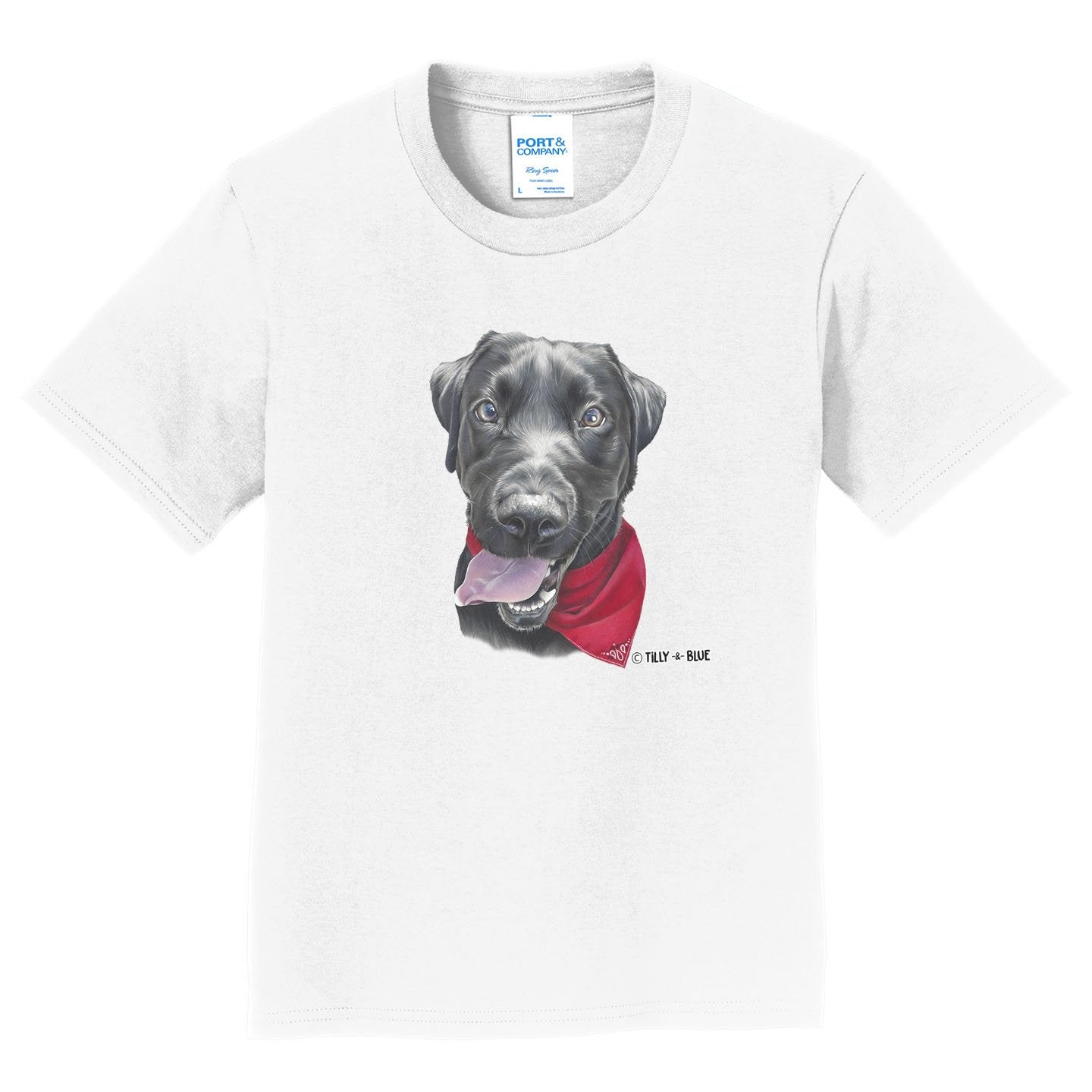 Black Lab With A Bandana - Kids' Unisex T-Shirt