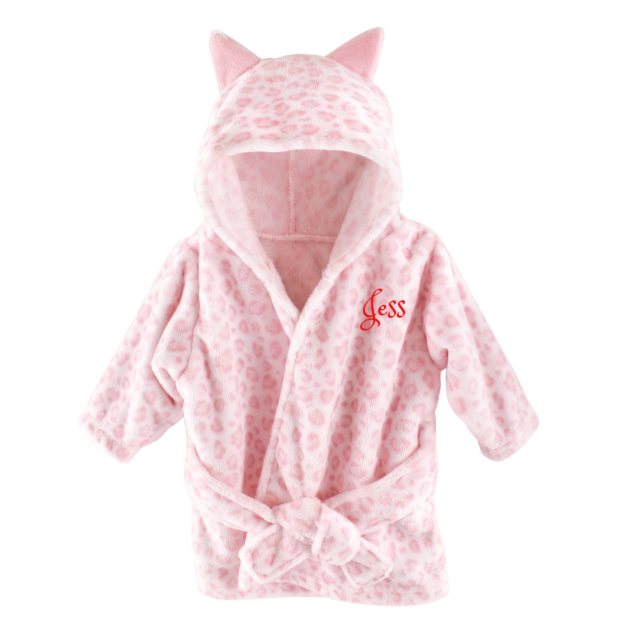 371357c49ba3 Personalized Hebrew Name Plush Baby Bathrobe - Pink Leopard - FREE Shipping  ...