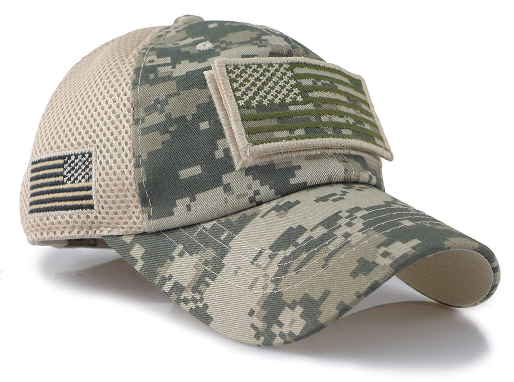 Multi Camo  Constructed Trucker Special Tactical Operator Forces USA Flag Patch Baseball Cap