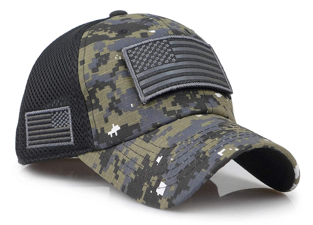 8736e57a132 Camouflage Constructed Trucker Special Tactical Operator Forces USA Flag  Patch Baseball Cap