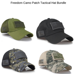 Freedom Camouflage Constructed Trucker USA Flag Patch Hat Bundle