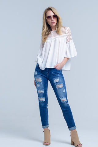 Edina White Crochet Blouse