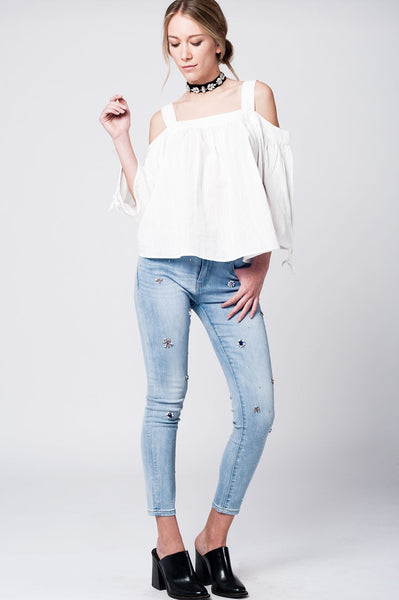 Henley White Lace Top