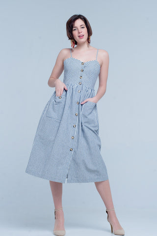 Gina Blue Midi Dress