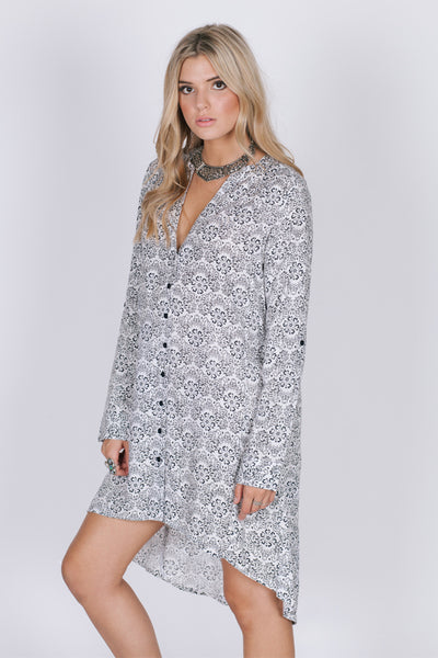 Valentina Black & White Tunic Top