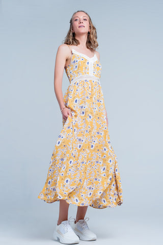 Cara Yellow Floral Dress