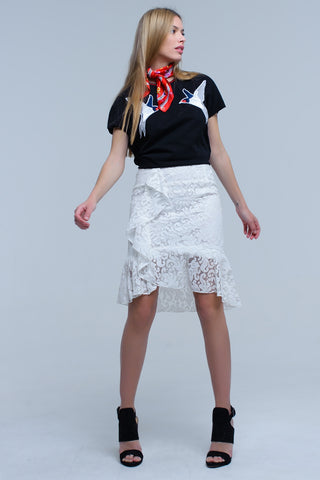 Delia White Lace Skirt