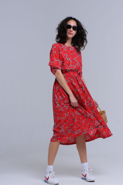 Tania Red Floral Dress