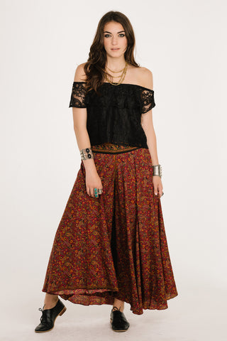 Esther Maroon Boho Pants
