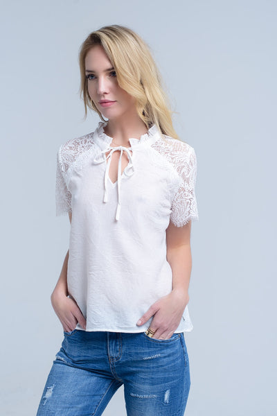 Mollie Beige Lace Top