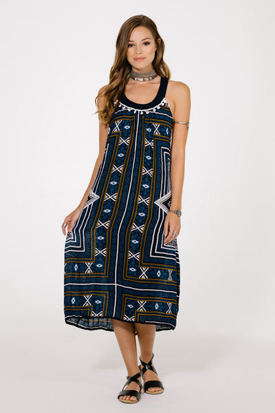 Harmony Navy Midi Dress