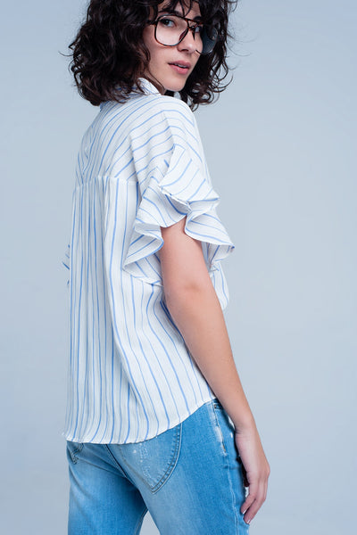 Mollie White Striped Top