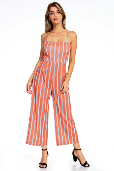 Maya Orange Striped Jumpsuit
