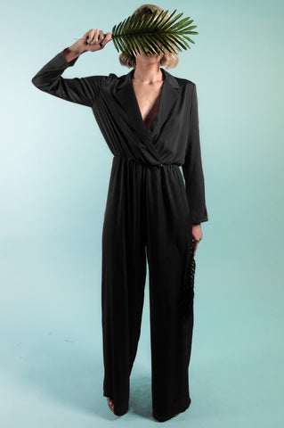 Danica Black Satin Jumpsuit