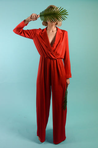 Danica Red Satin Jumpsuit