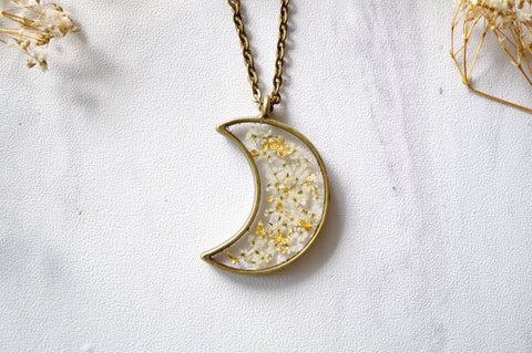 Crescent Moon Pressed Flowers Necklace