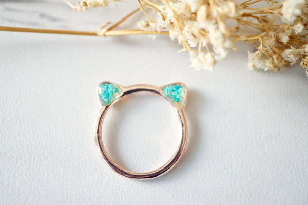 Cute Pressed Flowers Cat Ring